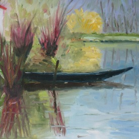Barque dans le Marais Poitevin huile sur toile lin 55x46 0317
