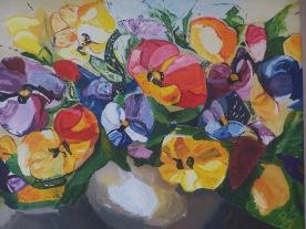 Bouquet de pensées 35x27 acrylique sur toile lin 1017