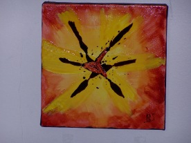 Coeur de tulipe n°1 20x20 vitrail sur toile coton 160515