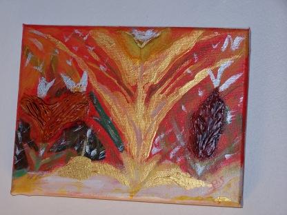 Jaillissement n° 1 24X18 acrylique et vitrail sur toile 0615