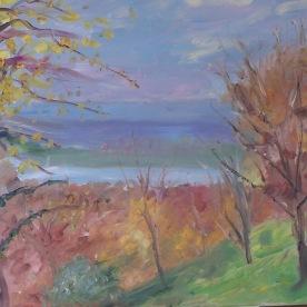 La Seine vue d'Hénouville le haut 55x46 huile sur toile lin 1216