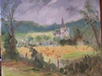 L'abbaye de St Martin de Boscherville 55x46 huile sur toile lin 0916