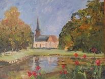 L'église de Lisors 55x46 huile sur toile lin 0117
