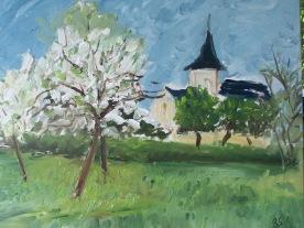L'église La Vaupalière 55x46 huile sur toile 0516