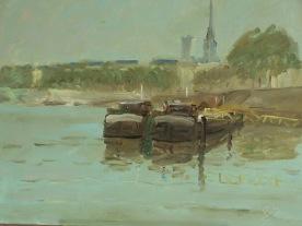 Les péniches du pont Mathilde 55x46 huile sur toile lin 0616