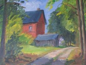 Maison rouge en forêt 55x46 huile sur toile lin 0617