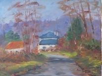 Montigny maison forestière 55x46 huile sur toile lin 0117