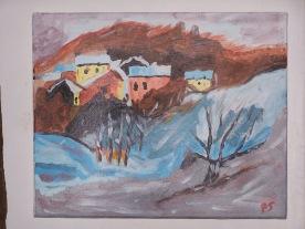 Paysage de montagne n°1 41X33 acrylique sur toile coton 0215