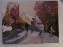 Promenade en hiver 61x46 acrylique sur toile coton 0116