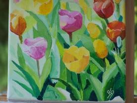 Tulipes n°1 20x20 acrylique sur toile coton 0417