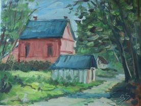Maison forestière 55x46 huile sur toile lin 0917