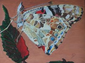 Le papillon sur la feuille 55x46 acrylique sur toile lin 0218