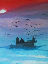Pêche matinale 92x73 acrylique sur toile lin 0718