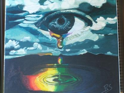 La larme 50x50 acrylique sur toile lin 0918