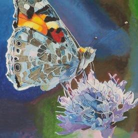 Le papillon sur l'agapanthe 61x50 acrylique sur toile lin mai 2019