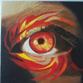 L'oeil de feu 50x50 acrylique sur toile lin 0619