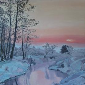 Brume hivernale 92x73 acrylique sur toile lin 0520